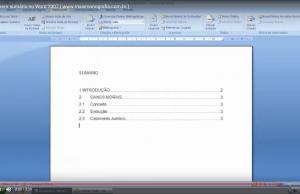 Como inserir sumário da Monografia ou TCC no Word 2007